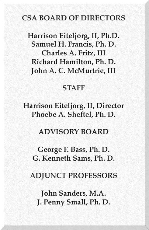 CSA Board of Directors; Staff; Advisory Board; and Adjunct Professors